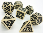 Beige & Black Dwarven Dice Set
